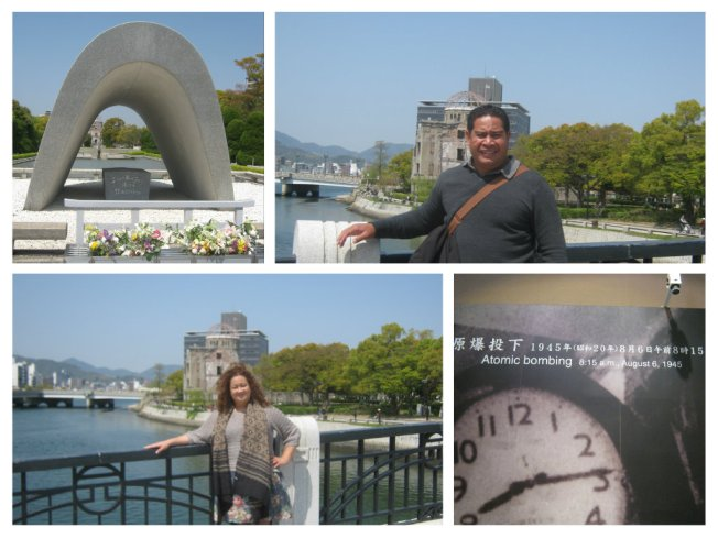 Top Right: The background is of Genbaku  Dome in Hiroshima.  The only structure left standing in the area where the first atomic bomb exploded on 6 August 1945.